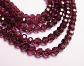 Crystal - round faceted 4mm beads - 98 beads - AA quality - dark purple - Full strand