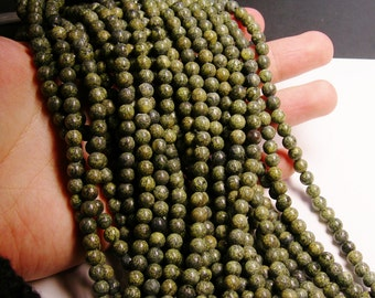 Russian Serpentine - 6mm round beads -1 full strand - 68 beads - RFG145