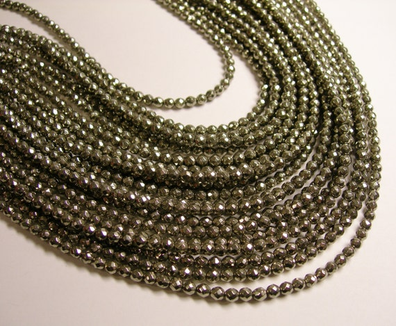 Pyrite - 4mm ( 3.5mm )  faceted round beads -1 full strand - 114 beads - A quality