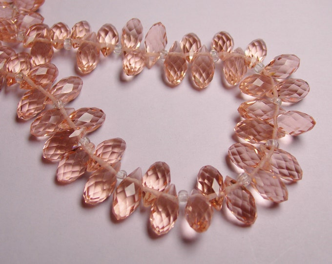 Faceted teardrop crystal briolette beads - 24 pcs - 12mm by 6mm - top sideways drill - pink - cherry