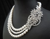 1930s Jewelry | Art Deco Style Jewelry Bridal pearl and rhinestone necklace Statement Bridal necklace Wedding Rhinestone necklace swarovski crystal and pearl necklace BARBARA $100.00 AT vintagedancer.com