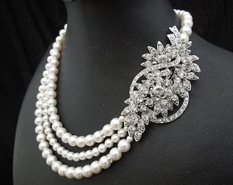 Pearl Necklace,Bridal Rhinestone Necklace,White or Ivory Pearl,Pearl Bridal Necklace,Statement Bridal Necklace,Wedding Jewerly,Pearl,BARBARA