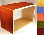 FLOATING WALL SHELF  - Custom Fun Modern Wood Furniture - Nightstand or Display Bookshelf  - Natural / Orange / Green / Blue / Red / Yellow