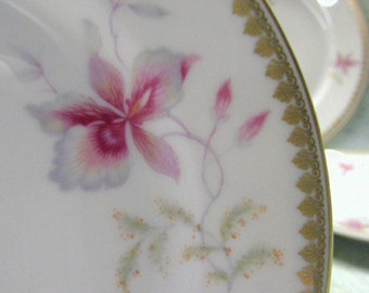 Rosenthal Orchid Pattern Bread Plates - Set of 4 - Cookie Plates - Chocolate Plates - Ornate Gold Edge - Pink Orchid Pattern - Gilded