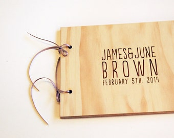 Wedding Guestbook Small DIY Wood Engagement Scrapbook Guest Book