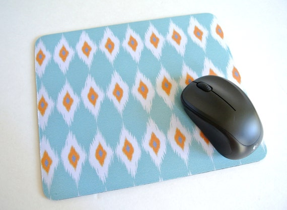 Ikat Print Mouse Pad, Modern Print Mouse Pad - Modern Home Decor - mousepad - teal ikat, orange ikat, blue ikat - office accessories, ikat