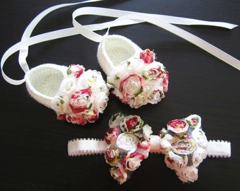 Chiffon Flowery Crochet Baby Booties & headband Set