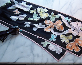 Silk Scarf - Pastel Bows on Black and Pink Silk Wrap Scarf