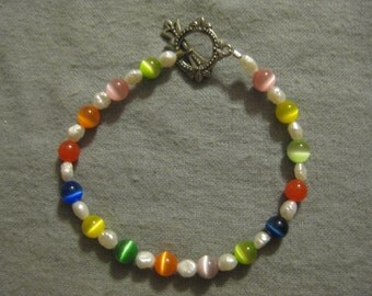 Beaded Glass and Pearl Bracelet