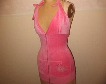 SALE Pink Velour hoodie Halter Tank Top Swim Suit Cover Up