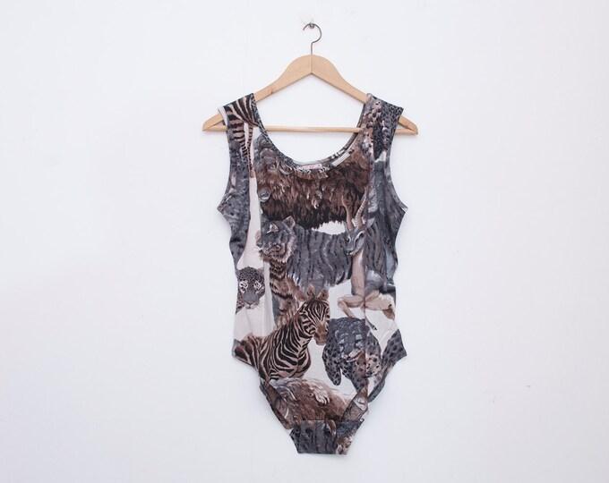 NOS vintage 90s animals print bodysuit top  size  L
