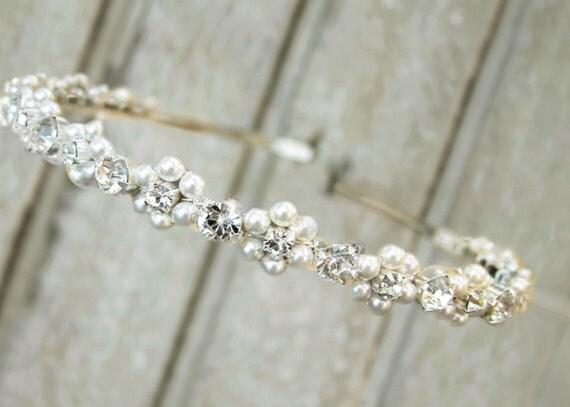 Pearl headband, bridal hair band, simple head piece, hair band - Clara
