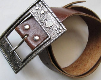 French Vintage 1970 leather belt cherries/ flowers buckle