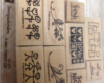 CLEARANCE SALE. Retired Stampin Up 2004 Smorgasborders rubber stamp set of 8, gently used, for gift tags and cards