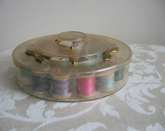 SALE Vintage Tidy Thread Sewing Box With Gold Sparkles & 19 Wood Thread Spools, Round Notions Organizer, Mid Century Collectible