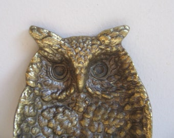 Vintage Brass Owl Bird Dish by Keeler 1964, Mid Century Cast Metal Woodlands Wisdom FABULOUS