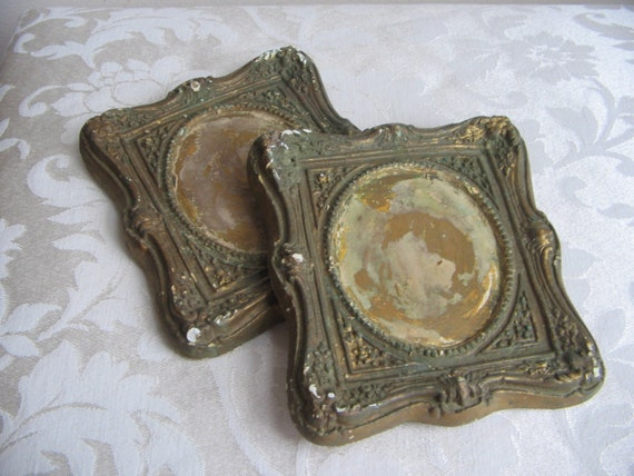 Vintage Plaster Chalkware Picture Frames Pair Gold Green