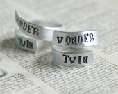 Wonder Twins Rings SET OF TWO - Adjustable Hand Stamped Aluminum Twist Ring - Two Wrap Rings - Twin Gift - Best Friend Gift - Couples Gift