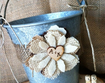 Rustic Country Flower Girl Pail Basket