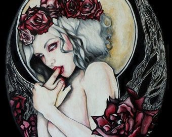 In The Garden - Stretched Canvas Print 8x10  Pin Up girl Tattoo Art lowbrow gothic Ghost with flowers Dark art Vampire Art Nouveau Roses
