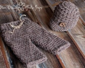 Newborn Photo Prop - Crochet Pant and Newsboy Set - Pick your color