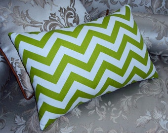 Green Chevron Zig Zag Decorative Lumbar Pillow Cover - 3 Sizes Available