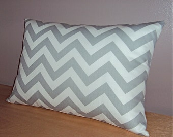 Gray Chevron Zig Zag Lumbar Pillow Cover - Available in 3 Sizes