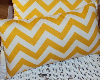 Yellow Chevron Zig Zag Decorative Lumbar Pillow Cover - 3 Sizes Available