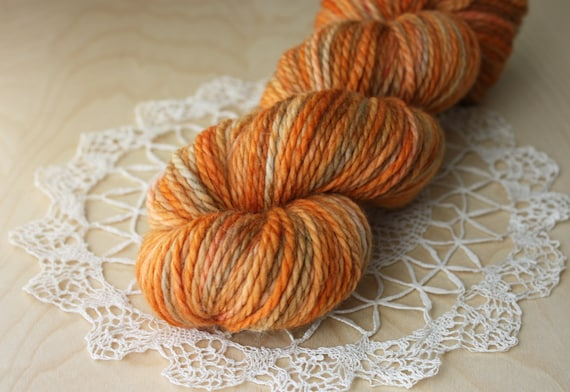 Hand Dyed Chunky Yarn / Aran Weight / Autumn Tortie Superwash Blue Faced Leicester Wool