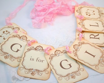 G is for Girl Lamb Banner Garland Baby Shower Decoration Photo Prop