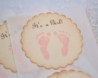 Pink Footprint Stickers It's a Girl Baby Girl Shower Stickers Birthday Envelope Seals Set of 10
