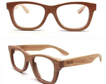 Handmade Bamboo Natural Brown Eyeglasses Glasses Frames Mjx1055