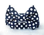 Polka Dot Bow Tie Dog Collar - White Polka Dots on Navy Blue