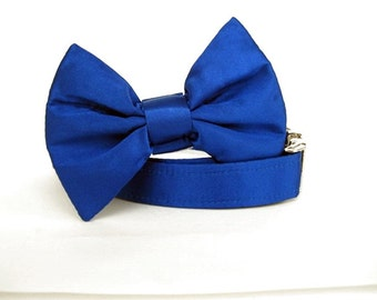 Satin Wedding Bow Tie Dog Collar - Royal Blue