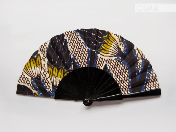 African hand fan - abstract flowers - black lacquered