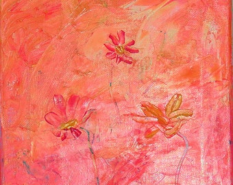 Acrylic Impasto Abstract Painting, 10 x 8 Palette Knife Abstract Art, Pink Peach Yellow