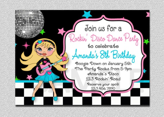 Rock Star Birthday Invitation Rock Star Birthday  Party Invitation