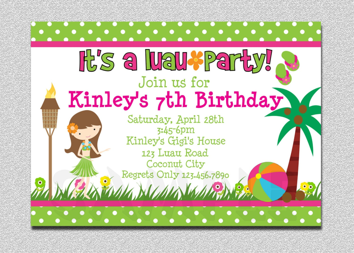 Luau Birthday Invitation Luau Birthday Party Invitation