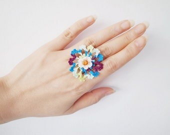 Irish Crochet Lace Jewelry (Cosmos I-b) Fiber Jewelry, Statement Ring, Crochet Ring, Gemstone