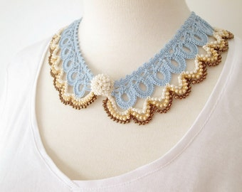 Crochet Lace Collar (Beaded Lace Collar I-c), blue, brown