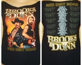 SALE.  Country Classic Remade Refashioned Restyled Brooks and Dunn 'Red Dirt Road' Concert Tour Tshirt - Large