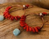 Tropic of Anywhere Hoop Earrings in Recycled Copper, Red Coral, Amazonite and New Jade. Jewelry by FullSpiral on Etsy