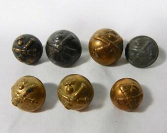 7 Crossed Cannon Buttons, Metal, G J & F Paris, Perfectionne, T W and W Paris