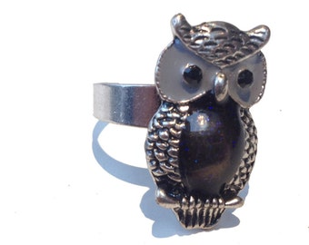 La Hibou, French Vintage Silver Owl Ring from Paris
