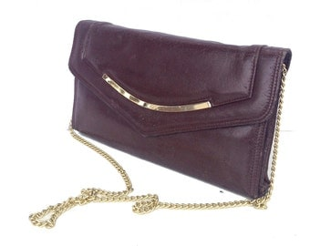 Bennie, French Vintage, Chocolate Brown Leather 1970s Clutch Handbag from Paris