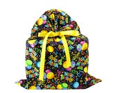 Large Birthday Bag Black Fabric with Balloons