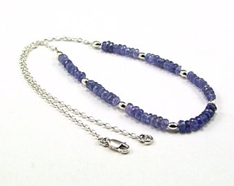 Exquisite Tanzanite & Sterling Silver Necklace - N654