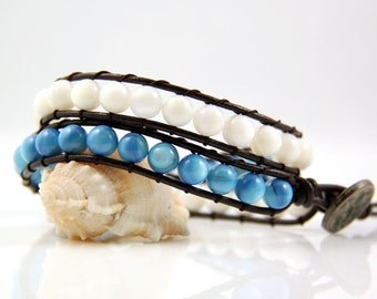 Blue And White Mother Of Pearl Bead Leather Wrap Bracelet