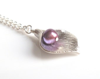 Silver Calla Lily Necklace - small matte silver charm with fuchsia pink plum purple genuine freshwater pearl on delicate silver plated chain