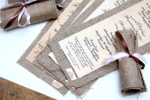 Wedding Invitations With Burlap: Wedding Invitations Vintage Burlap Invitations Rolling